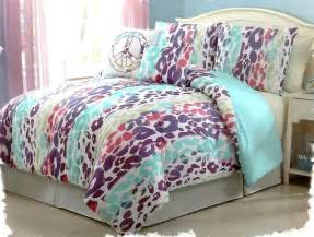 girls bedding blue pink purple leopard bed in a bag