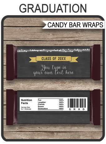 gold graduation hershey candy bar wrappers personalized