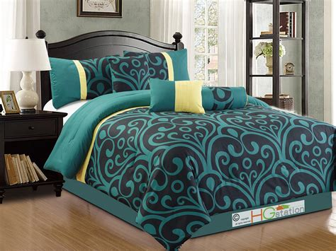 Teal Damask Comforter by 7 Pc Bold Royal Damask Floral Scroll Comforter Set Teal