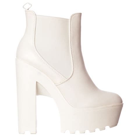 onlineshoe chunky cleated sole platform high heel chelsea