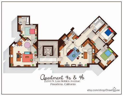layout of big bang theory apartment big bang theory art print apartment floor plan tv