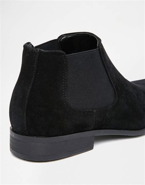 asos asos chelsea boots in black faux suede at asos