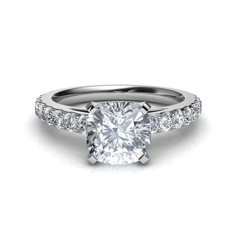 shared prong cushion cut engagement ring