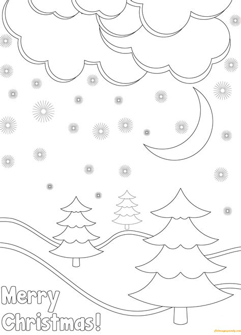 coloring pages winter landscape winter landscape on christmas day coloring page free