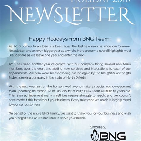 newsletters bng team
