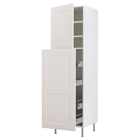 Charming Ikea Kitchen Pantry Unit #6: Furniture-white-glaze-stainless-steel-high-pull-out-storage-cabinet-with-2-doors-panel-and-chrome-metal-based-legs-ikea-white-storage-cabinet.jpg