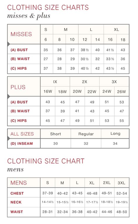 clothing sizing chart midnight velvet