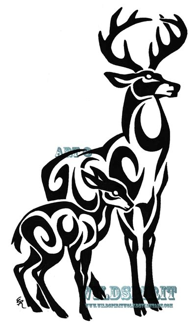 tribal stag and fawn tattoo by wildspiritwolf on deviantart