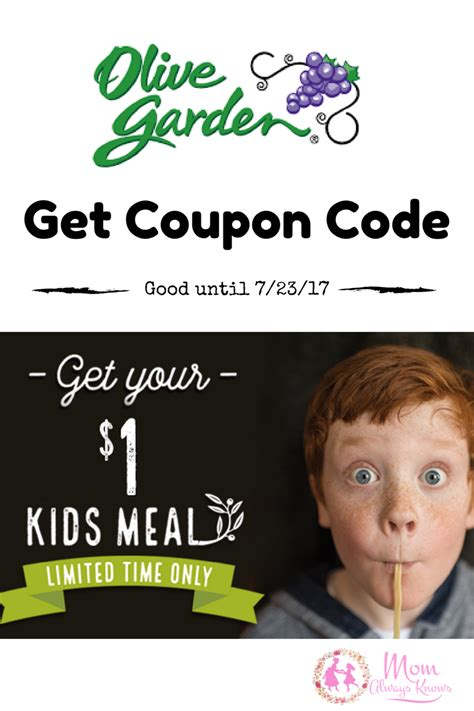 1 meal to olive garden with purchase of meal coupon code