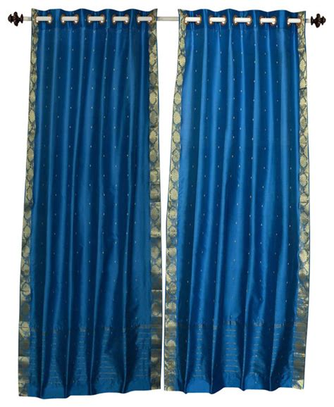 asian curtain turquoise ring top sheer sari curtain drape panel