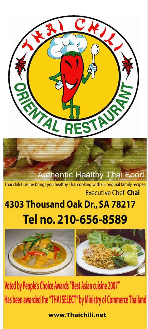 Thai Chili Restaurant In San Antonio Chili Buffet Menu
