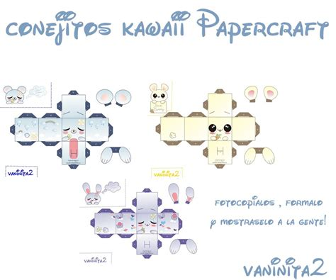Kawaii Papercraft - conejitos kawaii papercraft by vaninita2 on deviantart