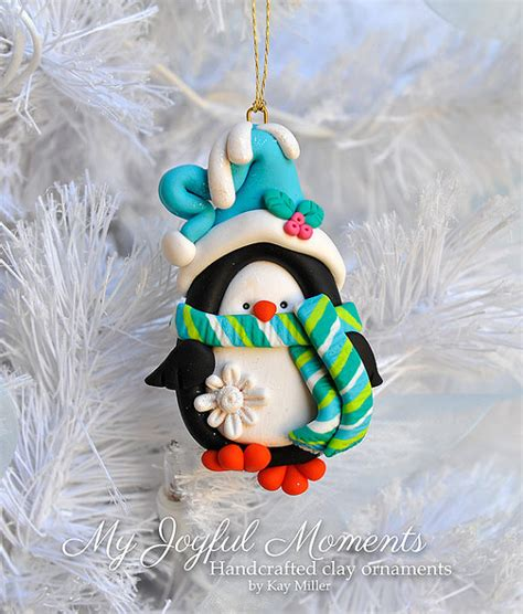 Handcrafted Ornaments - handcrafted polymer clay penguin ornament