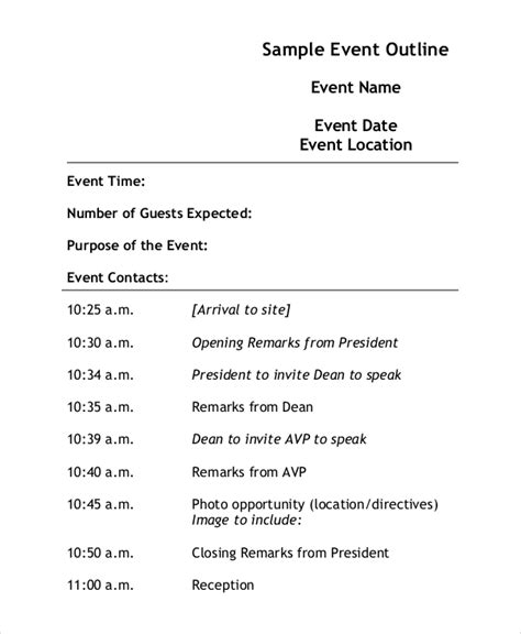 event outline template 7 free word pdf document
