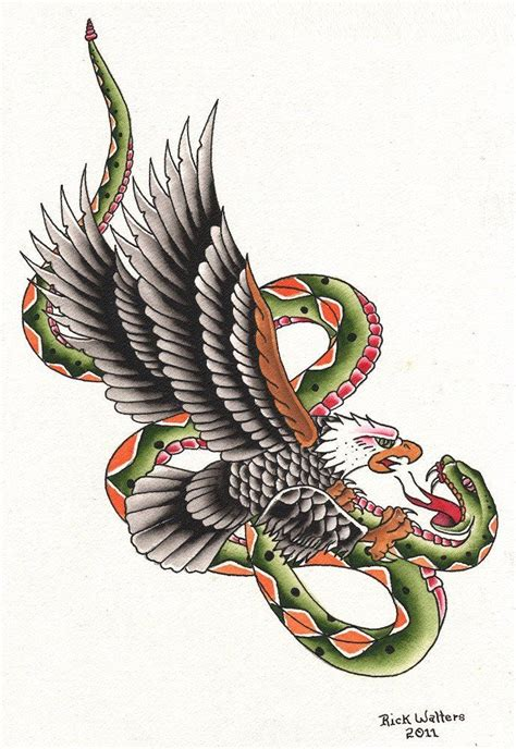 eagle and snake tattoo design snake eagle by rick walters serpent flash canvas