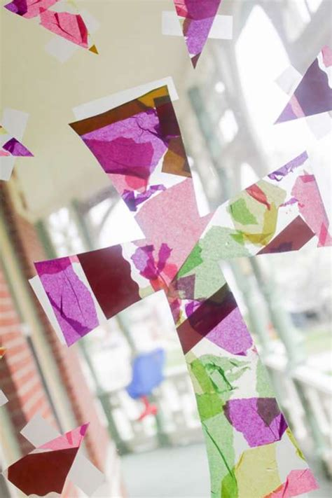 Tissue Paper Easter Crafts - easter craft with tissue paper cross collage on