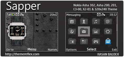 black theme for nokia c3 00 and x2 01 wb7themes sapper theme for nokia c3 00 x2 01 asha 200 201 302