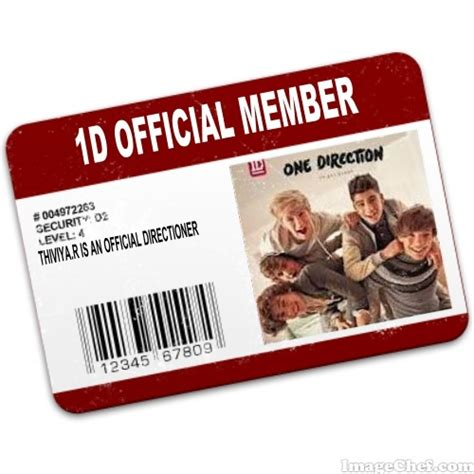 Membuat Id Card One Direction | 1 direction official members card business cards id