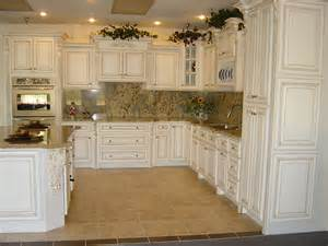 White Antiqued Kitchen Cabinets Simple Kitchen Design With Fancy Marble Tiles Backsplash Also Paired With Antique White Kitchen