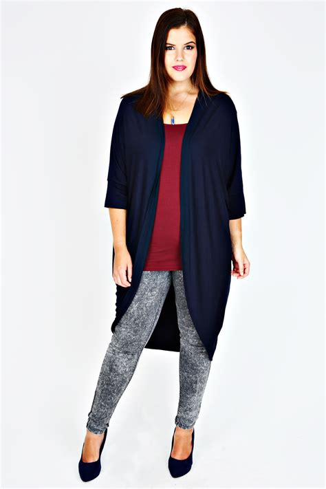 Cardigan Anak Size 2 navy longline cocoon cardigan with 3 4 sleeves plus size