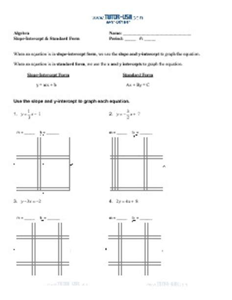 Slope Worksheet Pdf by Worksheet Slope Standard Form And Slope Intercept Form