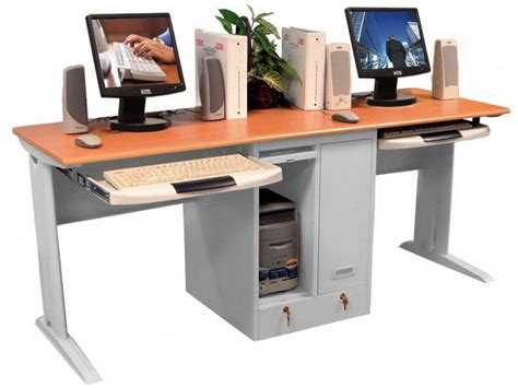 Computer Desk For Two Computers Two Person Workstation For Office And Home Office Homesfeed
