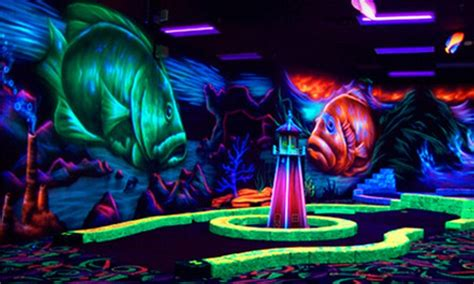 Black Light Mini Golf by Indoor Mini Golf And Bowling Oceans 18 Mini Golf Groupon