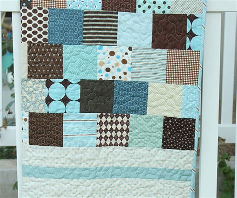 Brown Blue Quilt by Brown And Blue Baby Quilt Diary Of A Quilter A Quilt