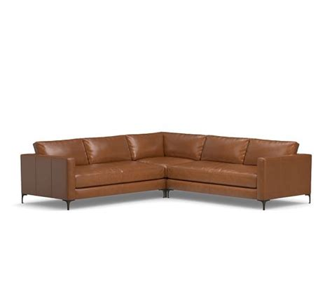 l shaped leather sectional jake leather 3 piece l shaped sectional pottery barn