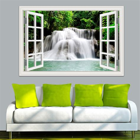 home decor sticker 3d wall sticker home decal waterfall 3d window view