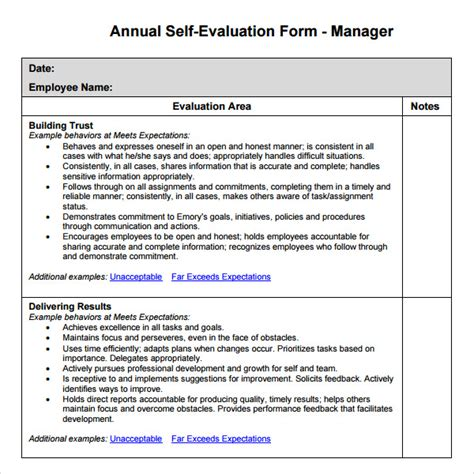 Performance Review Templates For Managers Manager Evaluation 6 Free For Pdf