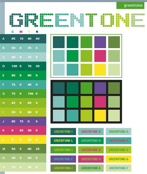 green tone color schemes color combinations color palettes for print cmyk and web rgb html