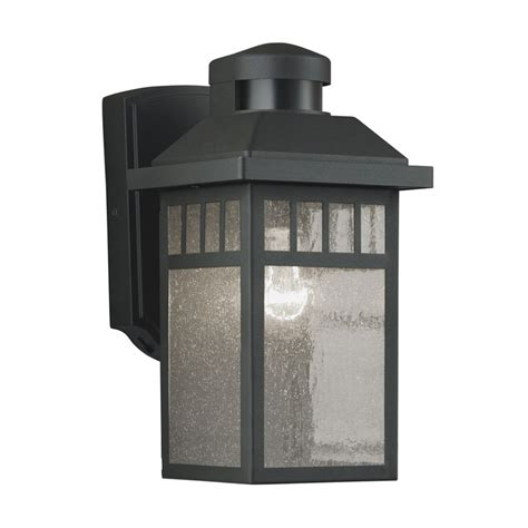 Outdoor Light Lowes Shop Portfolio 11 5 In H Black Motion Activated Outdoor Wall Light At Lowes