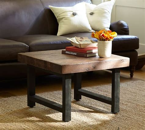 griffin reclaimed wood side table griffin reclaimed wood cube table pottery barn