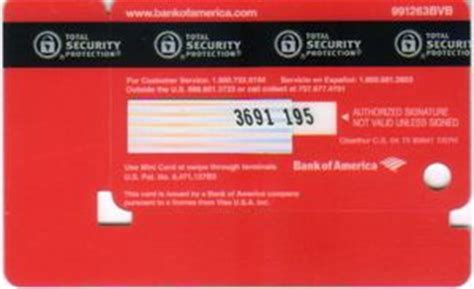 Buy Bank Of America Visa Gift Card - bank card visa mini card bank of america united states of america col us vi 0084