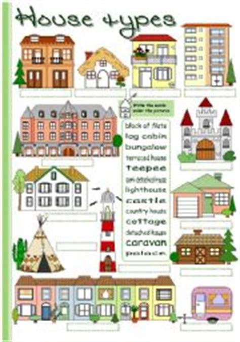 house styles list esl worksheets for beginners house types