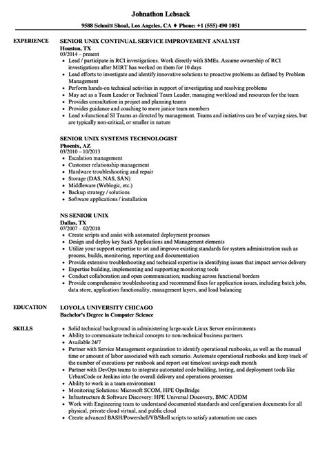 senior unix resume sles velvet