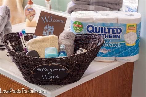 bathroom gift basket ideas guest bathroom welcome basket pasta and a tool belt
