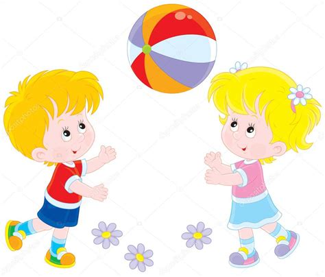 niños jugando ala pelota imagenes ni 241 os jugando con una pelota vector de stock 49080317