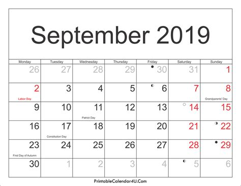 Calendar September 2019 September 2019 Calendar Printable With Holidays Pdf And Jpg