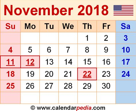 2018 November Calendar November 2018 Calendars For Word Excel Pdf