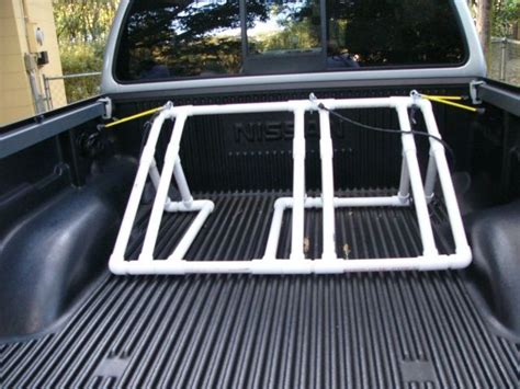 bike holder for truck bed great idea back of truck bike rack pvc projects