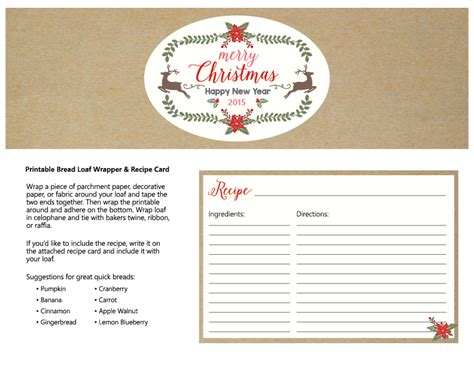 printable bread recipes free printable bread loaf wrap and recipe card l chef