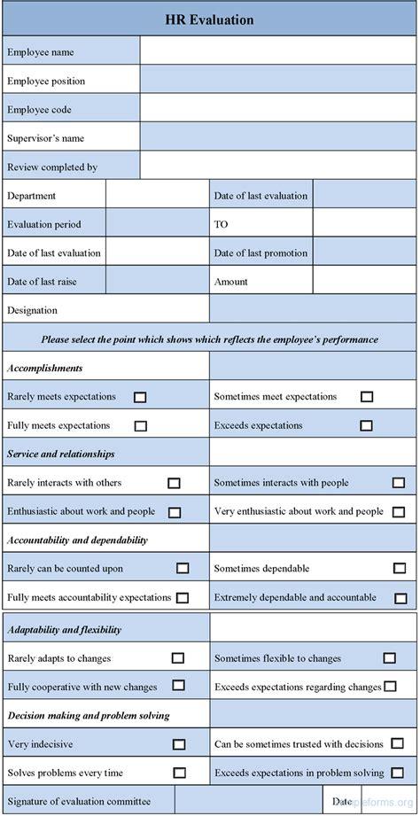 evaluation form hr evaluation form sle forms