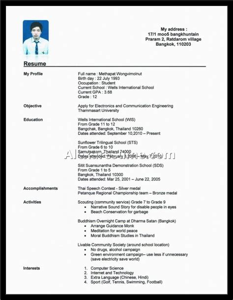 Resume Sles No Experience High School Student Resume For No Experience How To Write A Resume With No Experience High School