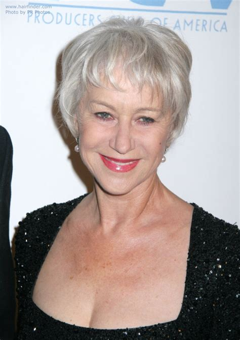 how to cut thin old lady hair helen mirren wearing her silver white hair short in a pixie