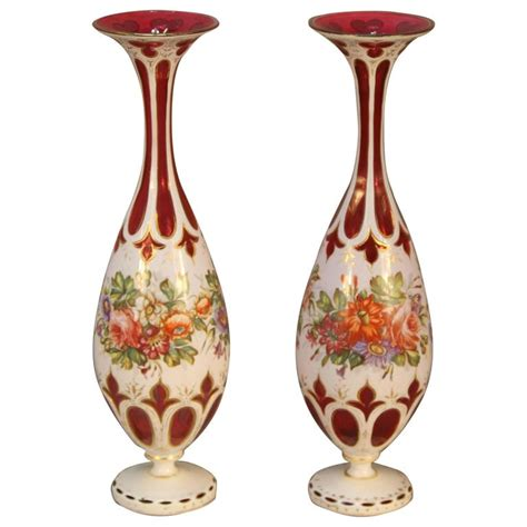 Bohemian Glass Vase by Antique Pair Of Ruby Cranberry Overlay Bohemian Glass
