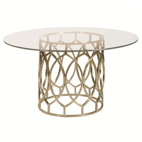 Glass Top Dining Tables With Metal Base Bernhardt Salon Dining Table With Glass Top And Geometric Metal Base Baer S Furniture Dining