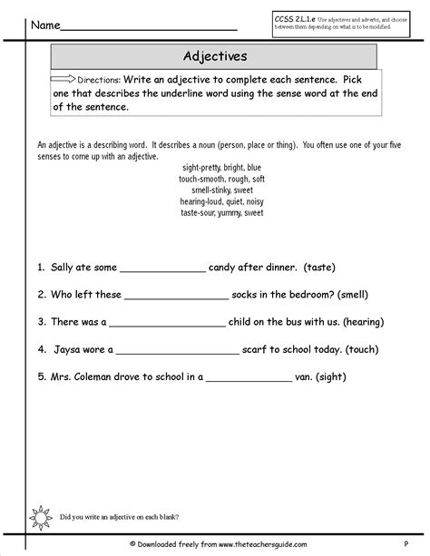 Adjectives Worksheets by Adjectives Worksheets From The S Guide