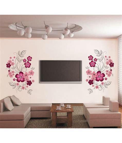 Wall Sticker Ay9006 60x90 stickerskart wall stickers pink flowers with black vine 7151 60x90 cms buy stickerskart wall